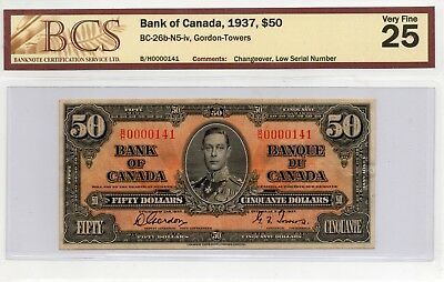 ➡➡ RARE BC-26b Low Serial #141 Canada 1937 King George $50 Note Gordon Towers