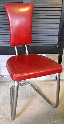 Vintage Daystrom mid-century tubular chrome chair w/original red vinyl