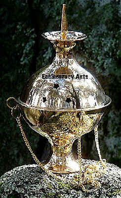 Brass Hanging Censer Burner -Incense, Resin, Cones, Charcoal, 4 Inch-Accessories