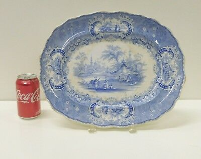 HUGE Antique 1830s Blue Staffordshire Transferware Medina Serving Platter