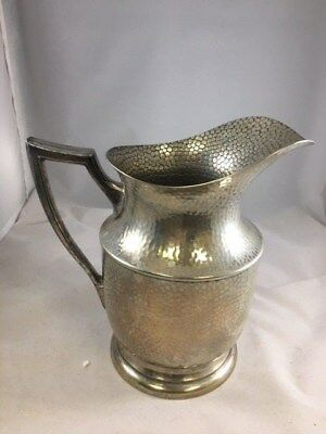 Hammered Silverplate Water Pitcher 9""