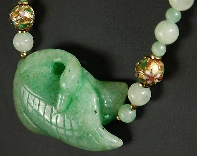 Chinese Hand Knotted Green & White Jade Carved Swan 10k Cloisonne Bead Necklace