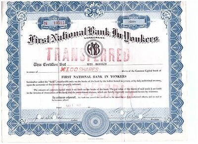 Vintage Stock Certificate 100 Shares of First National Bank In Yonkers