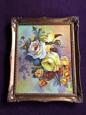 Stunning Rare and Vintage Oil Painting on Canvas - Autumn Roses, Signed M. Boyd