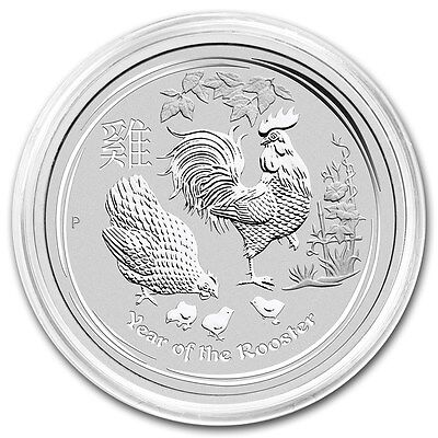 2017 ~ 2~OZ. PURE .9999 SILVER ~ LUNAR YEAR of the ROOSTER ~ PERTH MINT ~ $68.88