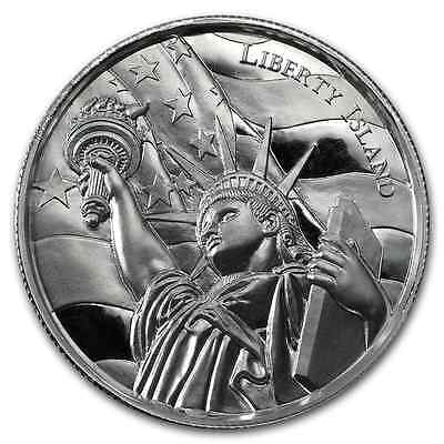 2~Oz ~Pure .999 Silver Round ~ Liberty Island ~ Ultra High Relief ~ $66.88 ~ Buy