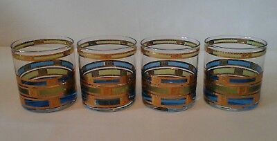 Set of 4 Vintage CULVER Blue and Green EMPRESS Glasses 22 kt Gold Low Ball Rare