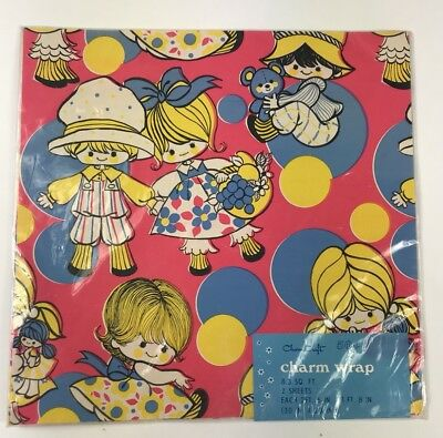 Vintage Gift Wrapping Paper Charm Wrap Craft 60s 70s New Old Stock Kids