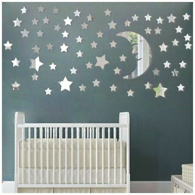 Moon and Stars Wall Stickers - 30cm Largest Moon with 66 Pcs Different Size O3B7