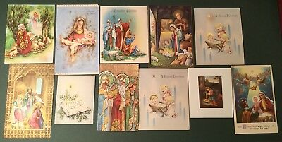 lot of 11 1940 50s era vintage holiday christmas religious greeting cards used - Artistic Holiday Cards