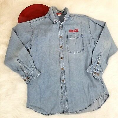 VTG Coca Cola Mens Denim Jean Shirt Medium Embroidered Long Sleeve Button Down