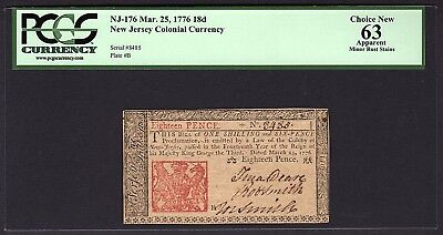 1776 New Jersey Colonial Note PCGS 63 APPARENT NJ-176  18d Pence Item #80504669