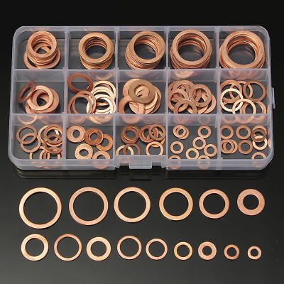 150Pcs 15 Size Assorted Solid Copper Crush Washers Seal Flat Oil Brake Ring Kit