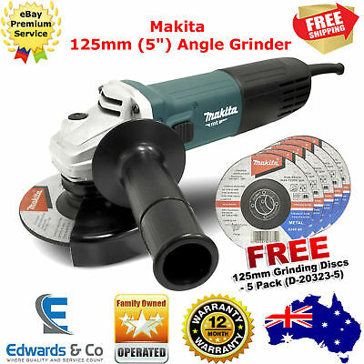 "125mm Angle Grinder Makita Electric Lightweight 5"" Bench Tool 720W Free Discs X5"