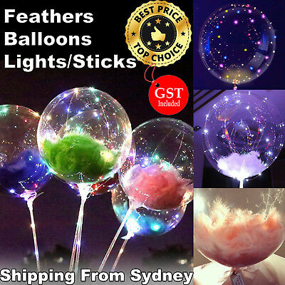 Bubble Balloon Clear Round Large Latex Helium BOBO Balloons Feather Lights Party