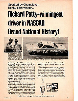 1967 Belvedere @ Darlington 500 / Richard & Lee Petty ~ Original Champion Ad