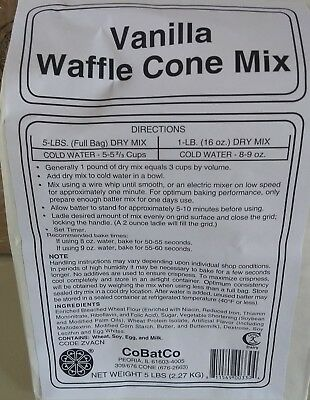 CoBatCo Vanilla Waffle Cone Mix - 5 lbs - One Bag (just add water)