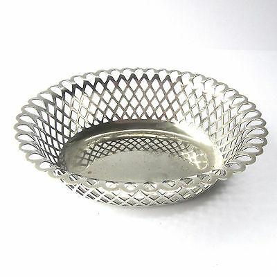 Antique SPURRIER & Co Silver Plate Coaster Bowl Oval Basket Weave 15.5cm x 13cm