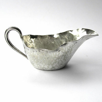 Antique Silver Plated Jug Sauce Boat Hammered Planished Finish Small Victorian