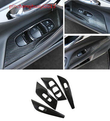 Carbon Fiber Style Window Lift Switch Button Cover Trim For Nissan Qashqai 2016