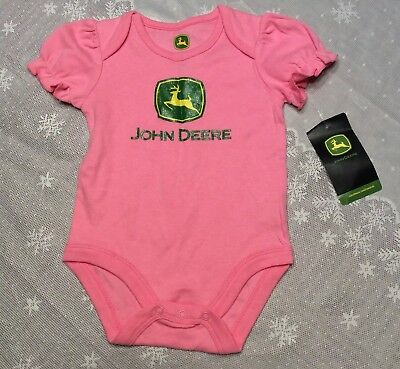 JOHN DEERE Baby Girls 0-3 3-6 or 6-9 Month Pink Yellow Bodysuit Choice NWT