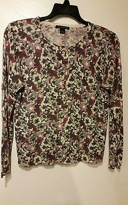 Large August Silk Floral Silk Blend button Cardigan Sweater long sleeve  purple 5344aa016