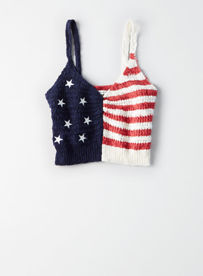 4048bb2ba6 AE AMERICAN EAGLE Patriotic Crochet Knit Flag Bralette Top Size M ...