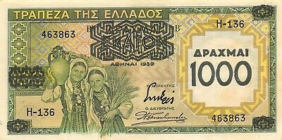 Greece  1000  Drachmai   1939  P 111a  Series  H-136   Circulated Banknote L618F