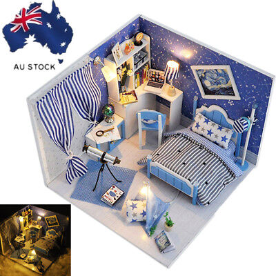 AU!! DIY Wooden Toy Doll House Miniature Kit Dollhouse Led Handicraft Toy Gift