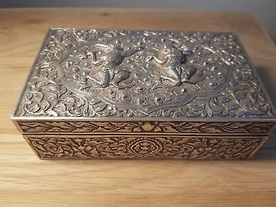 Vietnamese / Cambodian solid silver and wooden box
