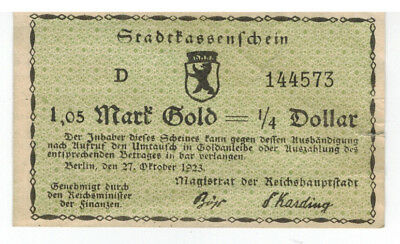 Notgeld 1,05 -1/4 Dollar Goldmark  Berlin
