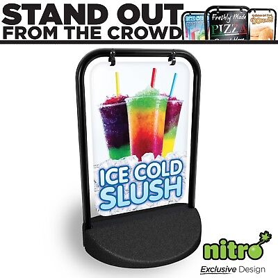 Ice Cold Slush Here Swinging Pavement Sign Outdoor Shop A-Board Slushies