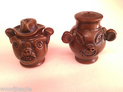 Vintage COWBOY PIGS SALT AND PEPPER SHAKERS & RETRO WESTERN RODEO THEME WARE