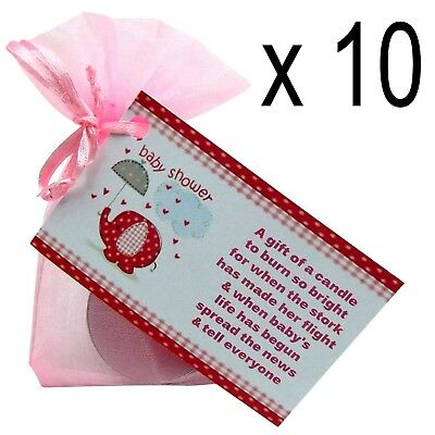 Baby Shower Scented Candle Favours 10 Pack - Girl Pink Gift Box Gender Reveal