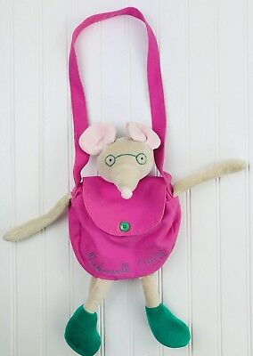Small Moulin Roty Mademoiselle Cheese Mouse Plush Bag Purse Pink Girl
