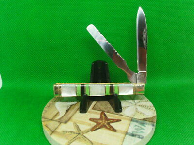 """Classic Toothpick Chili Knife Large 4"""" Burnt Bone Scales Brass Pins Liners"""