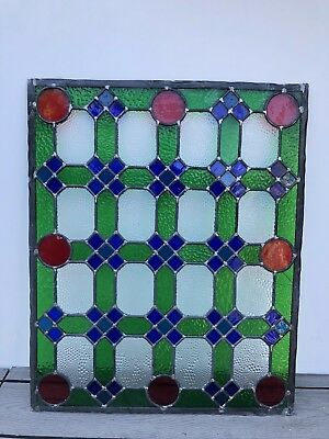 Leaded Glass Panel - Coloured Glass - Reclaimed - Possibly 1930s - 72cm x 59cm