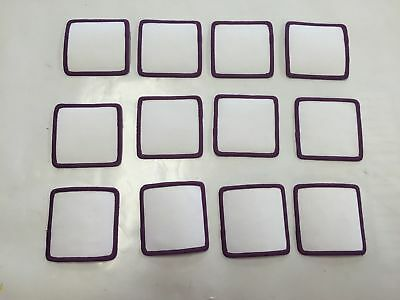 """Lot of 12 Blank 3/"""" X 3/"""" Cloth Patches Embroidered Edges White Burgundy Patch"""