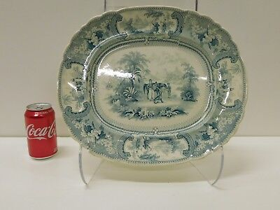 ANTIQUE 1830s EWS Belzoni GreenHistorical Staffordshire Transferware Platter