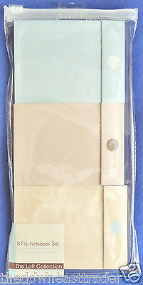 3pc Flip Notebook Set Note Pads The Loft Collection Blue/Brown/Tan 80 Page Each
