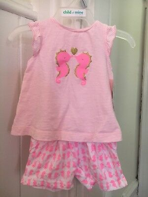 d2ff37c4e NWT Carter's Child Of Mine Newborn Baby Girl Pink Seahorse Summer 2-pc  Outfit