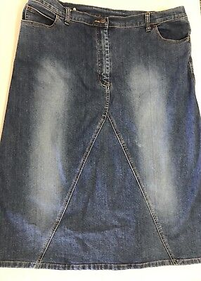 Women`s Blue Denim Maternity Skirt Size 16 Best Collection Brand Euc