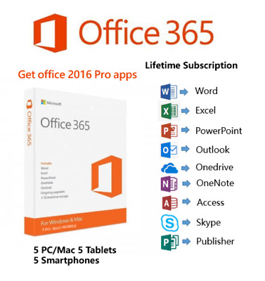 Microsoft Office 365 Genuine Account With 5 TB Onedrive 5 Pcs - Mac Win Mobile