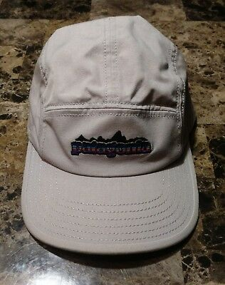 SUPER RARE  PATAGONIA Fitz Roy Retro Label 5 Panel Gray Cap Organic Cotton  Hat 887c881da80