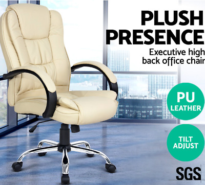 PU Faux Executive Office Chair Mesh Leather High back Multi layer padded Beige