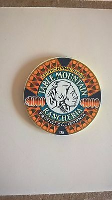 Rare $1000 Table Mountain Casino Chip California, New Discovery Mint Condition