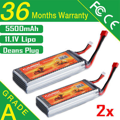2x 11.1V 5500mAh 3S 35C Lipo Battery Deans for RC Helicopter Airplane Cars Hobby