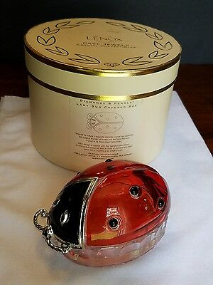 Lenox Pave Jewels Crystal Collectibles Diamonds & Pearls Lady Bug Covered Box