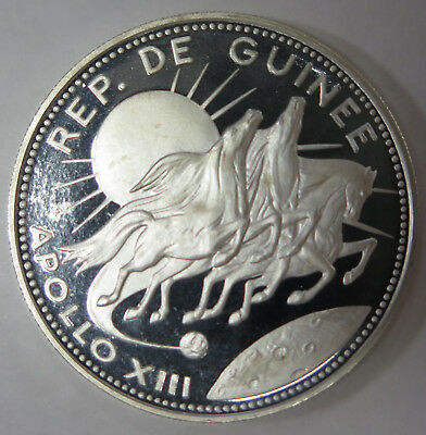 1970 Guinee Guinea 250 Francs Proof Silver Coin Apollo XIII KM# 14