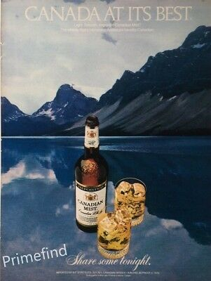 1980 CANADIAN MIST Whisky On the Rocks Lake Mountains Vintage PRINT AD